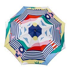 Vive les vacances avec ce parapluie à l'allure de carte postale ! Panorama graphique aux notes acidulées. #maisonpiganiol #parapluies #madeinfrance