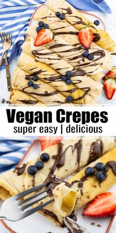 Vegan crepes are not only super delicious but also really easy to make. If you're looking for an easy vegan dessert or vegan breakfast, this is the right recipe for you! Find more vegan recipes at ! #vegan #veganrecipes #dessert