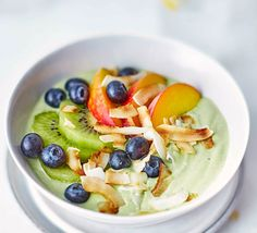 Mix nutritious matcha powder with natural yogurt in this maple syrup and fruit-topped breakfast that's 2 of your 5-a-day