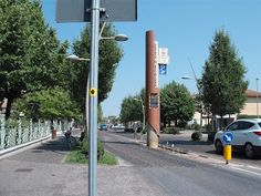 Speed detector embedded in streetscape, Lugana #italy #traffic_calming #green #traffic #pedestrian