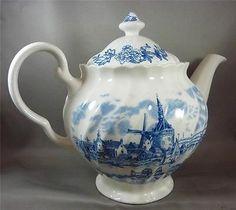 Blue-White-Johnson-Bros-Teapot-Tea-Pot-Lid-England-Tulip-Time-Transferware