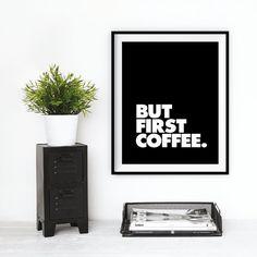 """Décor mur motivation impression typographie """"Mais la première tasse de café"""" Wall Decor signe Wall Art Bureau décor automne tendances automne"""