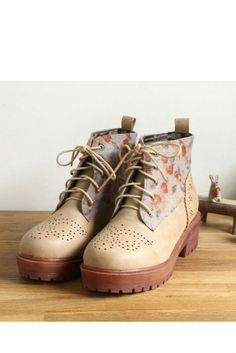 Vintage Beige Floral Ankle Boots . Free 3-7 days expedited shipping to U.S. Free first class word wide shipping. Customer service: help@moooh.net