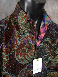 Mens Button Up Woven Robert Graham Chimera Sport Shirt in Multi