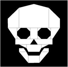 Skull Halloween Paper Piecing Pattern - via @Craftsy - paper pieced block, foundation pieced block