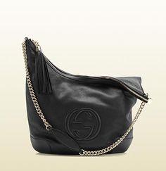 4a597af46b5 GUCCI- Soho black leather shoulder bag with chain strap -  1290 (I ll