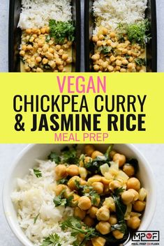 Chickpea Curry With Jasmine Rice Meal Prep - Plant-based main dish made with chickpeas spinach and a creamy coconut br. Vegetarian Meal Prep, Lunch Meal Prep, Easy Meal Prep, Healthy Meal Prep, Dinner Meal, Healthy Eating, Gluten Free Recipes For Lunch, Rice Recipes, Lunch Recipes