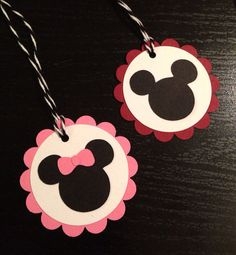 Gift Tags Mickey Minnie Mouse Birthday Party Qty by PaperStuff4u $6.39 for 12