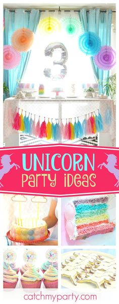 Be blown away by this amazing unicorn birthday party! The birthday cake is so colorful!! See more party ideas and share yours at CatchMyParty.com