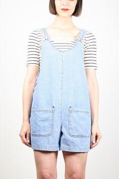 Vintage Womens Overalls Light Blue Denim by ShopTwitchVintage #vintage #etsy #90s #1990s #overalls #romper #playsuit #denim #grunge #shortalls