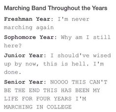 but i'll march next year ;)<<< we don't have marching band on our school, taking the bus in my free time, so far I've played the flute for 4 years Marching Band Quotes, Marching Band Problems, Flute Problems, Marching Band Funny, Band Puns, Band Jokes, Band Nerd, Music Jokes, Music Humor