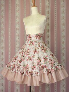 Lolibrary   Victorian Maiden - Skirt - Rococo Bouquet Scallop Skirt