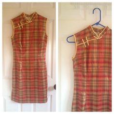 Etsy の ヴィンテージ オレンジ格子縞のドレス sz S 1960 年代 by honeycombvintage