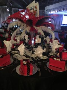 Vegas Theme Feather and Card Centerpiece by Mallows & Moët Décor and Events