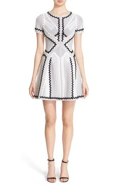 Herve Leger Zigzag Knit Fit & Flare Dress