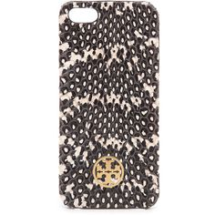 Tory Burch Whipsnake Hardshell Iphone 5 / 5S Case - Charcoal ($46) ❤ liked on Polyvore featuring electronics, phones and tory burch