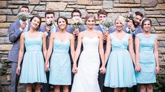 Mismatched Kennedy Blue bridesmaid dresses in mint.   Top 2017 Wedding Trends