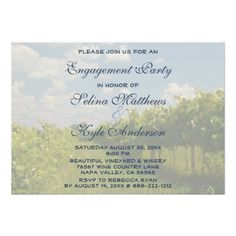 Vineyard Wine Winery Country Bachelorette Party Custom Invites This Bachelorette Party Invitation features nature landscape photography of grapes and grapevines at a vineyard. Great for a winery, wine, vineyard or wine lovers party. Winery Wedding Invitations, Bachelorette Party Invitations, Rehearsal Dinner Invitations, Engagement Party Invitations, Rehearsal Dinners, Wedding Rehearsal, Invites, Wedding Reception, Party Favors