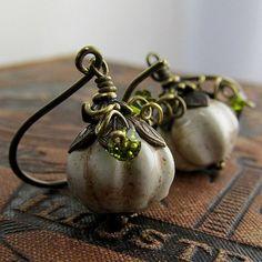 Creamy White Pumpkin Earrings Ivory Gourd Earrings by DebraDane