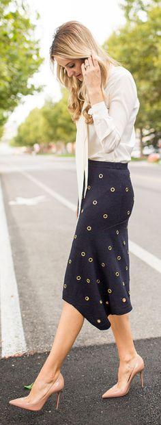 Black Eyelet Midi Skirt Fall Inspo by Ivory Lane