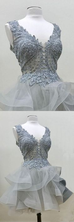 Layered Homecoming Dresses, Grey Ball Gown Homecoming Dresses, Short Grey Homecoming Dresses, Chic Homecoming Dress Appliques V-neck Tulle Sexy Short Prom Dress Party Dress Grey Prom Dress, Black Prom Dresses, A Line Prom Dresses, Cheap Prom Dresses, Sexy Dresses, Grey Gown, Prom Dresses 2016, Dresses Short, Prom Party Dresses