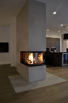 Home Fireplace, Modern Fireplace, Living Room With Fireplace, Fireplace Design, Home Room Design, Dream Home Design, Interior Design Living Room, Living Room Designs, House Design