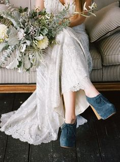 Image result for wedding dress blue booties