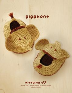 Elephant Baby Booties Crochet PATTERN by kittying.com from mulu.us |  This pattern includes sizes for 0 - 12 months.