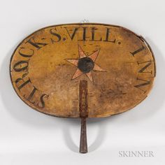 """Two-sided Polychrome Painted """"STROCKSVILL INN"""" Sign - Price Estimate: $2000 - $3000"""