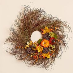 24 Inch Natural Twig Wreath with Fall Decor