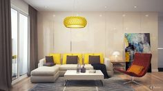 L shaped sofa with the touch of yellow and brown cushions and a red lounge chair and yellow chandelier makes perfect color's combination Living Room Designs, Living Room Decor, Living Area, Living Spaces, Interior Architecture, Interior Design, L Shaped Sofa, Modern Houses, Yurts