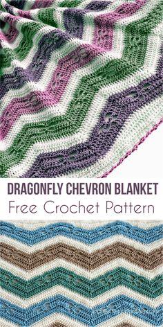 Dragonfly Chevron Blanket Free Crochet Pattern #chevron #babyblanket #dragonfly #crochet #freecrochetpatterns #giftidea #babyShowerGifts