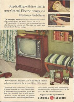Push Button Electronic Self-Tuner General Electric Television Original 1957 Vintage Print Ad Color Photo GE TV Slim Silhouette..