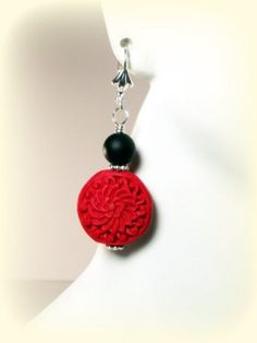 Red and Black Earrings - Red Cinnabar Earrings by  Designed By Audrey - Handmade Jewelry on ArtFire