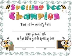 Spelling Bee Award Certificates by Rockin' Teacher Materials-Hilary Lewis Certificate Of Completion Template, Birth Certificate Template, Printable Certificates, Award Certificates, Grade Spelling, Spelling Bee, Bee Activities, English Phonics, Cover Letter Sample