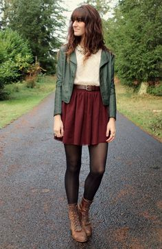 Maybe not the green leather jacket but the deep red skirt- tights- boots- great fall outfit- womens casual-fashion