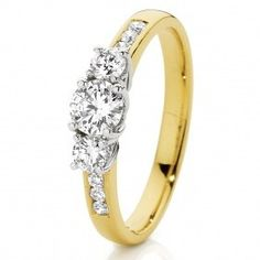 Idée et inspiration Bague Diamant :   Image   Description   18ct 2 Tone Gold Diamond Trilogy Ring