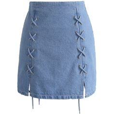 Chicwish Never Wrong Denim Lace-up Bud Skirt (120 BRL) ❤ liked on Polyvore featuring skirts, bottoms, blue, lace up skirt, denim skirts, lace up front skirt, lace up denim skirt and knee length denim skirt