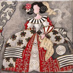 Pinzellades al món: 'Meninas' il·lustrades per Raquel de Bocos Ceramic Painting, Silk Painting, Illustrations, Illustration Art, Collages, Ceramic Figures, Ad Art, Naive Art, Couple Art