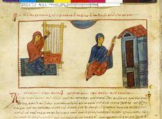1300s Grec 134, fol. 184v, Allégorie de la sagesse de Dieu métier à tisser