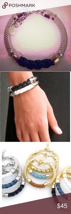"""Silver/black Leather """"Trenza"""" bracelet Never worn, was a Christmas gift but I won't wear it -- comes new in box.  Braided leather and silver with adjustable length chain and lobster clasp. The Skinny website shows these bracelets stacked but looks great on its own too! Skinny Jewelry Bracelets"""