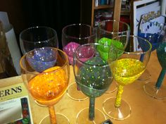 Polymer Clay (FIMO) covered wine glasses