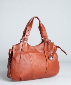 Furla : burnt sienna pebbled leather 'Agora' satchel : style # 319422301