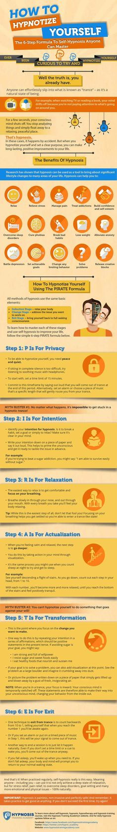 Interested in learning how to hypnotize yourself? Learn the easy formula to self-hypnosis anyone can master in this infographic. Autogenic Training, Learn Hypnosis, Hypnotize Yourself, Step Workout, Heath And Fitness, Meditation Techniques, Nlp Techniques, Meditation Benefits, Hypnotherapy