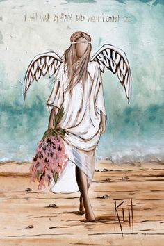 iCanvas Rut Art Creations Walk By Faith Wrapped Canvas Angel Artwork, Angel Drawing, Angel Pictures, Angel Images, Dibujos Cute, Walk By Faith, Angels Among Us, Your Paintings, Angel Paintings