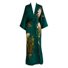 Print Kimono Long Robe - Peony and Butterfly (emerald)