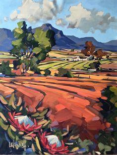 Purchase artwork Gazing Across the Fields - Acrylic Painting by South African Artist Carla Bosch Watercolor Landscape, Landscape Art, Landscape Paintings, Watercolor Art, African Artwork, South African Artists, Guache, Art For Art Sake, Contemporary Paintings