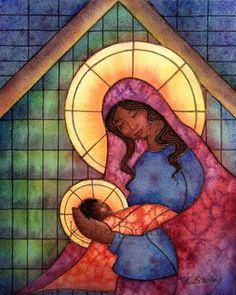 Madonna and baby Jesus print chocolate skin Catholic Art, Religious Art, Religious Icons, Black Jesus, Jesus Painting, Mama Mary, Blessed Mother Mary, Mary And Jesus, Madonna And Child