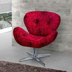 Poltrona Decorativa Giratória Thais Suede Vermelho Estampado American Confort $509