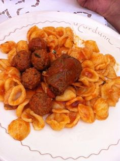 """orecchiette al ragù di polpette e braciole U'Curdunn, Locorotondo. This absolutely deserves pinning. A great local dish - typical orecchiette pasta with meatbals and tenderly cooked """"braciole"""" at this beautiful restaurant in one of the prettiest towns in Puglia."""